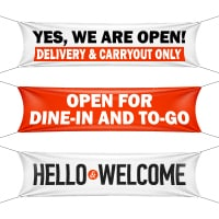 banners for to-go delivery dine-in open business